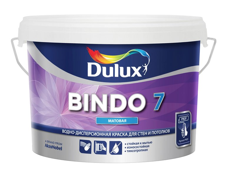 Краска База С BINDO 7 д/стен и потолков 9л