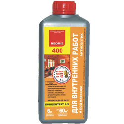 Антисептик NEOMID-400 для внутренних работ 1л концентрат 1:5