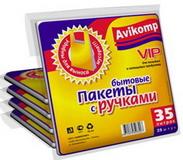 Мешки для мусора 35л желтые  с ручк.(25шт)  АВИКОМП