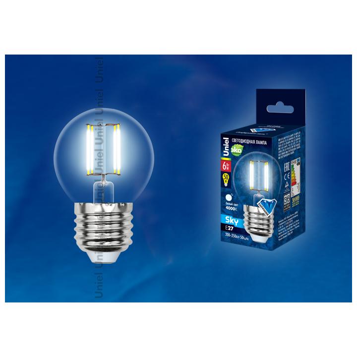 Лампа светодиодная  G45-6W/WW/3000/E27CL PLS02WH