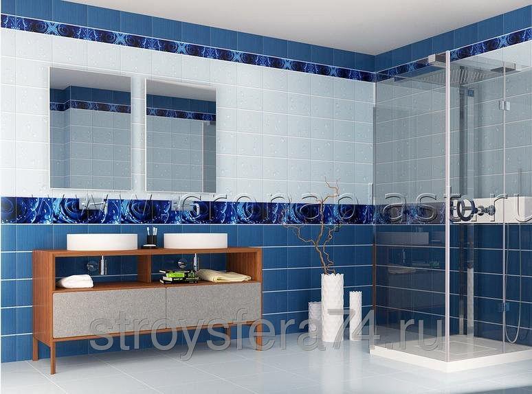 ПВХ панель  2700х250х7  Капли росы синий