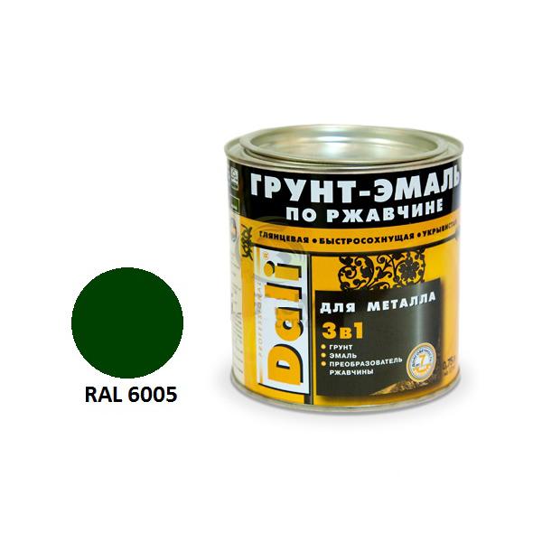 Грунт-эмаль по ржавчине 3 в 1 DALI 0,75л зелёный мох RAL6005