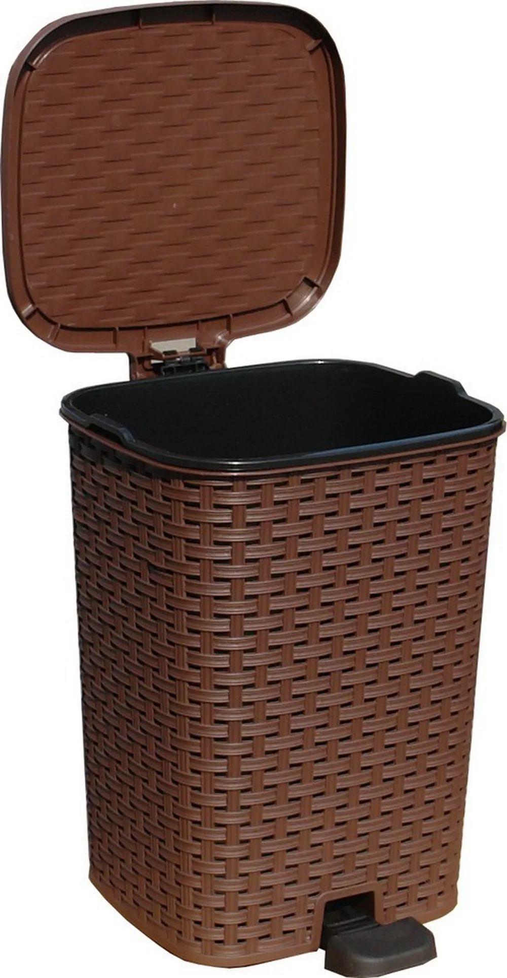 Ведро для мусора с педалью плетённый 21л