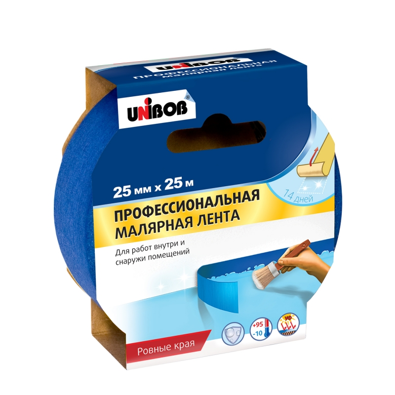 Скотч малярный UNIBOB д/наружних работ 25х25м синий