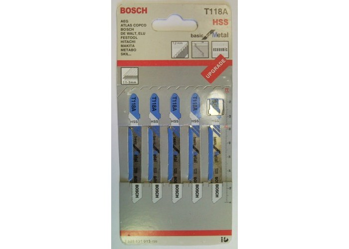 Пилки Т118 А для лобзика металл 1,2мм5 шт.