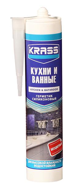 Герметик KRASS силикон для кухни и ванной бесцветный 300 мл