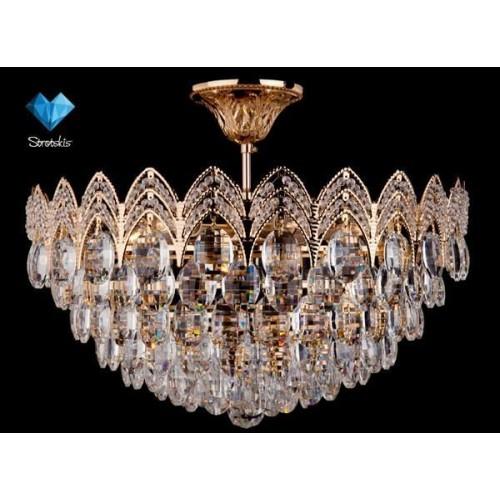 Люстра Хрусталь-3649/6 золото.прозр/хрусталь.