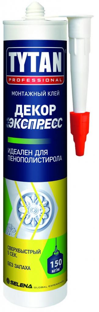 Клей монтажный Титан Декор Экспресс акрил белый 310 мл(стиропор, пенополист.пенопласт)