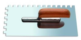 Кельма нержавеющая сталь 130х270 м зуб 6х6 деревянная ручка