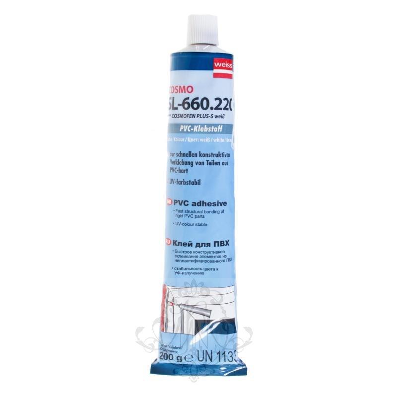 Клей для ПВХ белый Cosmofen Plus SL-660.220 жидкий пластик 200 гбел