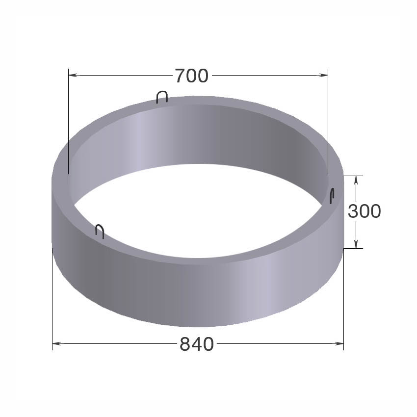 Кольцо бетонное КС 7-3 d=0.7m, h=0.3m вес -125 кг Сафоново