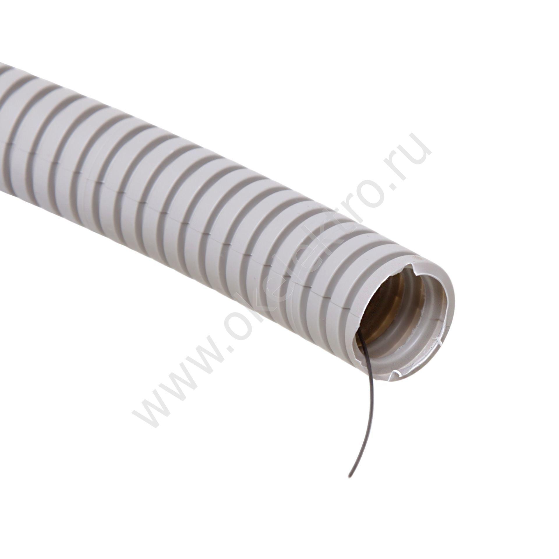 Труба гофрированная с протяжкой ПВХ ф16,100м