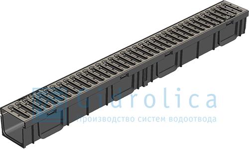 Лоток водоотводный Gidrolica®Light ЛВ-10.11,5.9.5 пластиковый c оцинк. решеткой