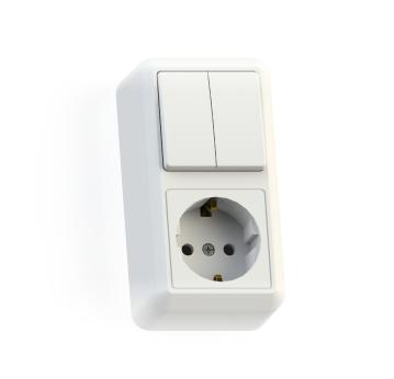 Блок Оптима БКВР-428 (выкл.2кл.+роз.1гн.с з/к) о/у