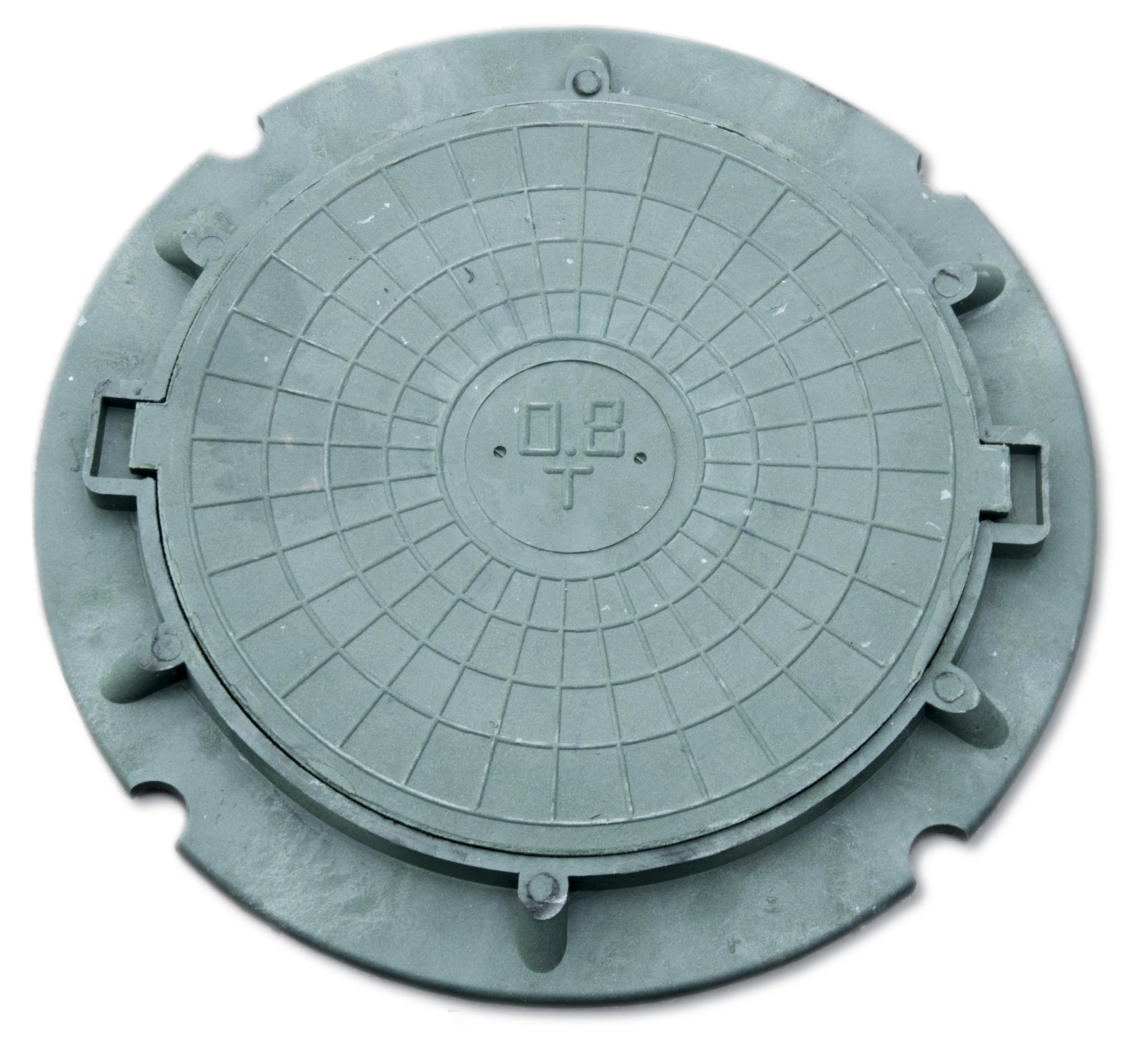 Люк полимерный облегченный 60 мм х ф-730 мм зеленый, масса 15 кг, нагрузка 1,5 т