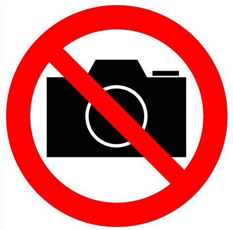 """Знак наклейка """"Фотосъемка запрещена"""" 150*150,56-0043"""