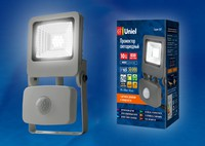 Прожектор светодиодный с датчиком движения ULF-F37-10W/NW IP65 195-240B SILVER