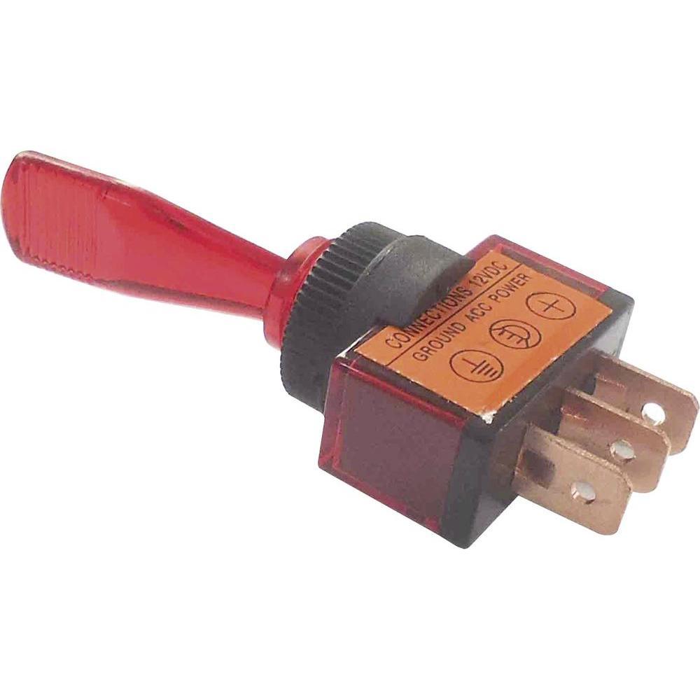 Тумблер12V 20A однополюсный красный 36-4370