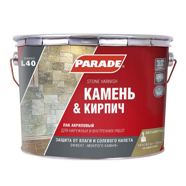 Лак для камня PARADE акриловый 2,5л L40 на растворит.глянец