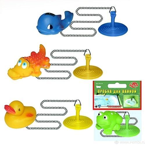 Пробка для ванной с игрушкой 4 дизайна