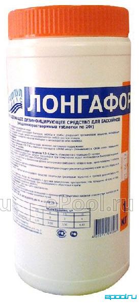 Маркопул Кемиклс/на основе хлора/ Лонгафор/ органический хлор -90% таб 20гр банка 1 кг 95047