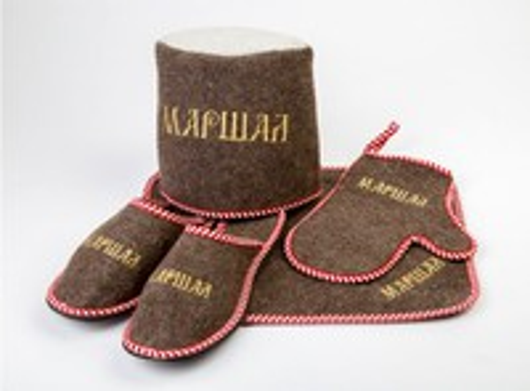 "Набор для бани ""МАРШАЛ"" войлок серый (тапки,коврик,рукавица,шляпа)"