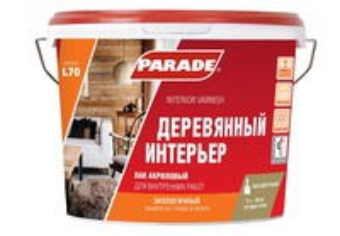 Лак акриловый PARADE L70 для дерева Интерьер 0,9л п/матовый