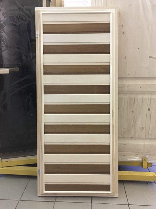 Дверь банная массив липа глухая 180 х 70 см (термо-комбинированная)