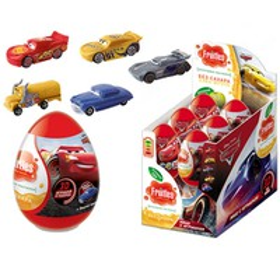 Яйцо пластик с игрушкой и мармеладом ТАЧКИ 5гр