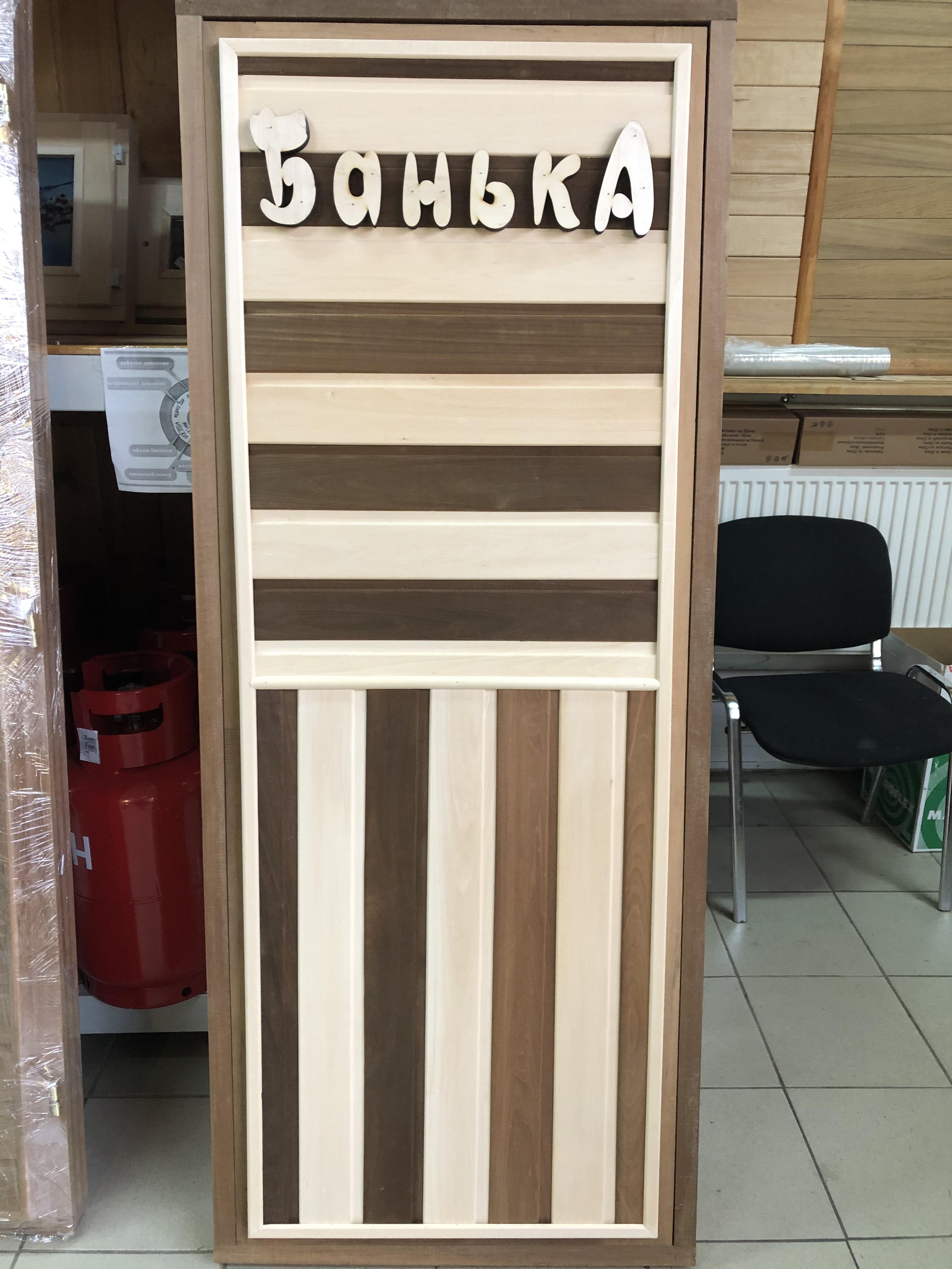 Дверь банная термолипа Панно Комби глухая 190х70см б/петель