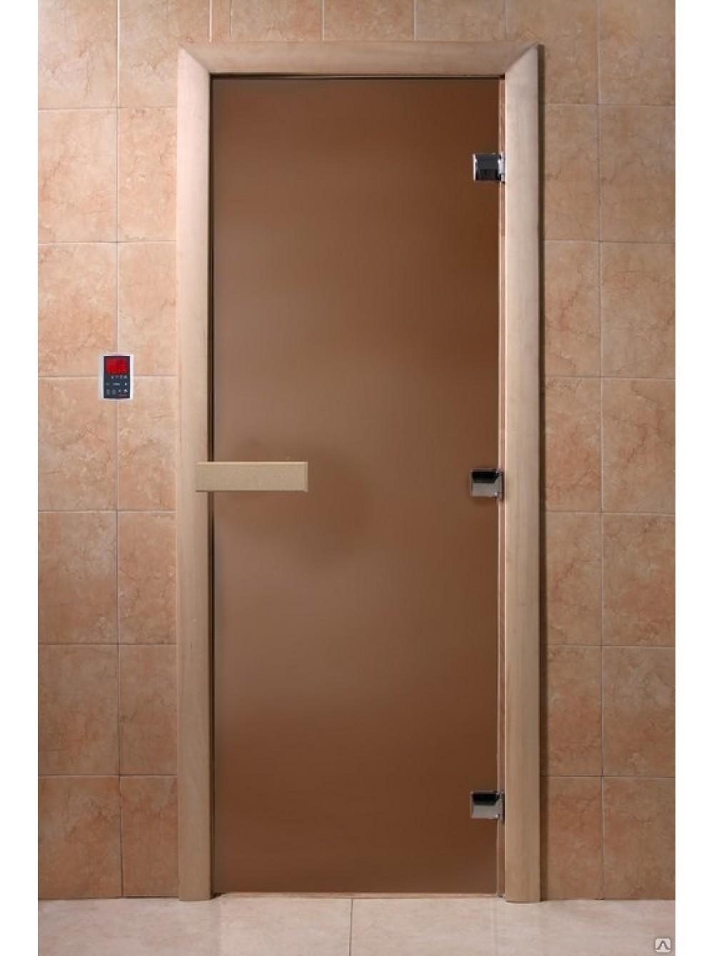Дверь банная стекло DoorWood Бронза матовая 190*70см