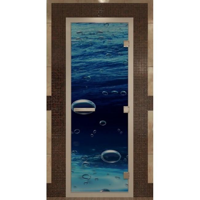 Дверь банная стекло DoorWood Арт (Море) 1825х665х8мм