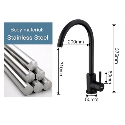 40899-4F Смеситель для кухни ф35 нерж.сталь черный