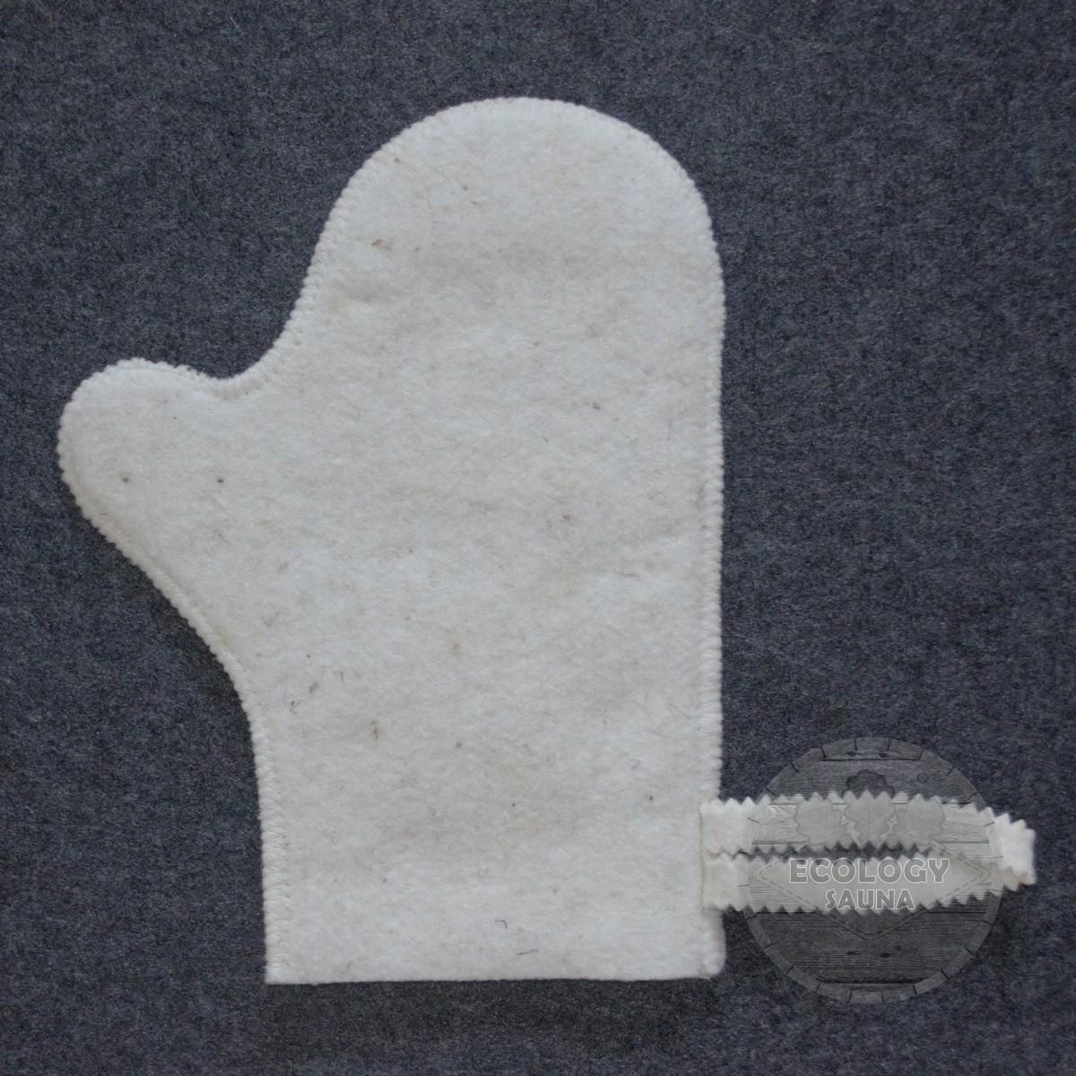 Рукавица для сауны войлок белый