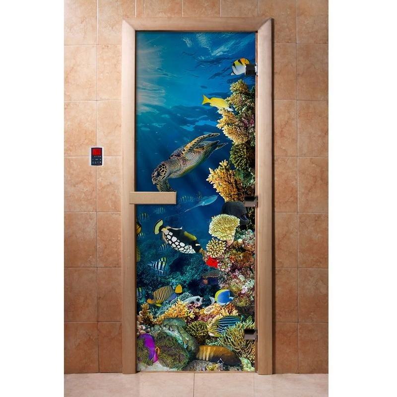 Дверь банная стекло DoorWood Арт (Аквариум) 1825х665х8мм