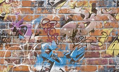 168418-15  Обои 1,06*10 м флиз.горч.тисн.Граффити(рыж)
