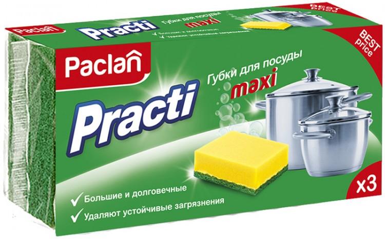 "Губка д/посуды""PACLAN"" Практик макси 3шт"