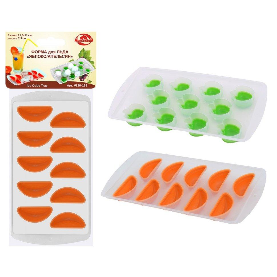 Форма для льда силикон  яблоко-апельсин 2 цв VL-80-155