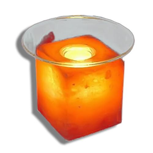 Светильник настол.солевой КУБУС SLL 12014-П с арома со стеклянной тарелочкой