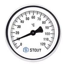 Термометр биметаллический ф63 мм, гильза 75 мм c погружной гильзой