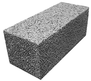 Блок керамзит. полнотелый 188х190х390 мм Сафоново.вес15кг