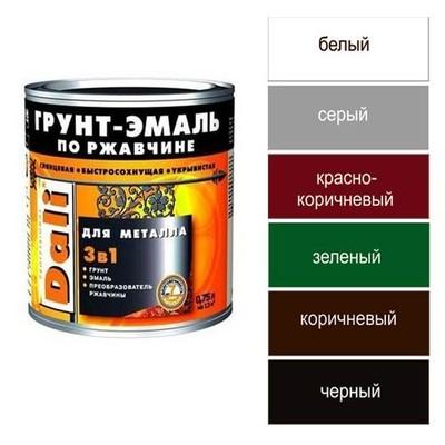 Грунт-эмаль по ржавчине 3 в 1 DALI 2л молотковая коричневая