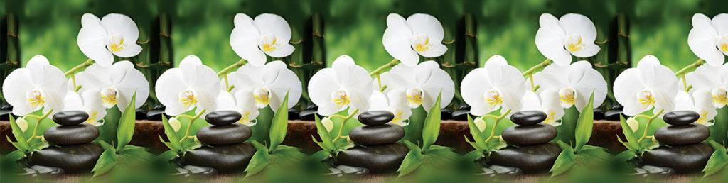 ПВХ фартук Белая орхидея 3000х600
